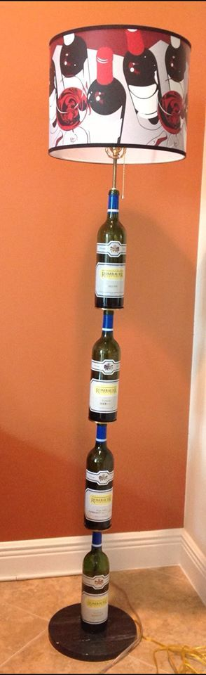 cool floor lamp made with wine bottles