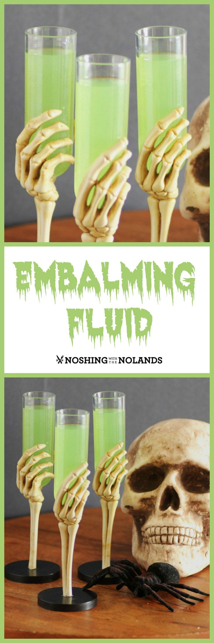 I love making up cocktails especially now that there are so many options with the flavored vodkas. This Embalming Fluid will help you get your ghoul on!!