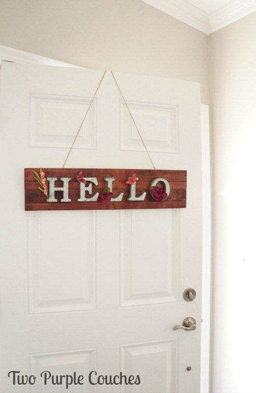 """""""Hello"""" Springtime Metal and Pallet Wood Sign"""