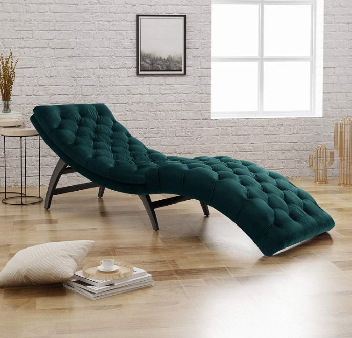 Contemporary Modern Style Velvet Chaise Lounge Beautiful Curved Indoor Chaise Lounge Chair Stunnin Tufted Chaise Lounge Chaise Lounge Velvet Chaise Lounge