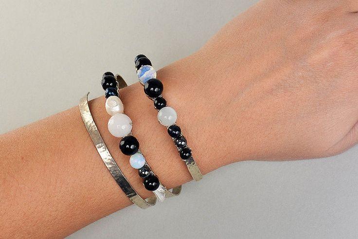 Black onyx bracelet, Triple cuff, spiral bracelet, wide alpaca cuff, hammered cuff, chunky metallic cuff, onyx Jewelry, women big bracelet by ColorLatinoJewelry on Etsy