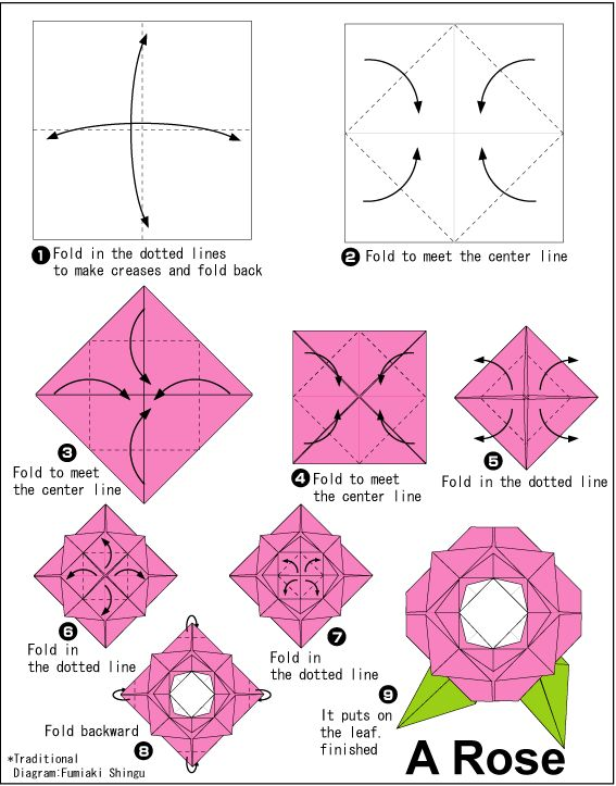 Origami Flower Instruction Diagram Wiring For Cub Cadet Zero Turn Flowers Step By Rose Instructions Studio Ii Retail Research Pinterest And