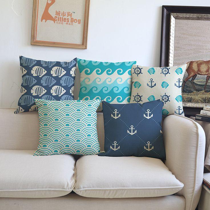 Green Blue Cushion Home Decoration Geometry Ocean Pillow Cases Decorative Cotton Linen Sofa Car Cushion Cover  Anchor Pillowcase #Affiliate