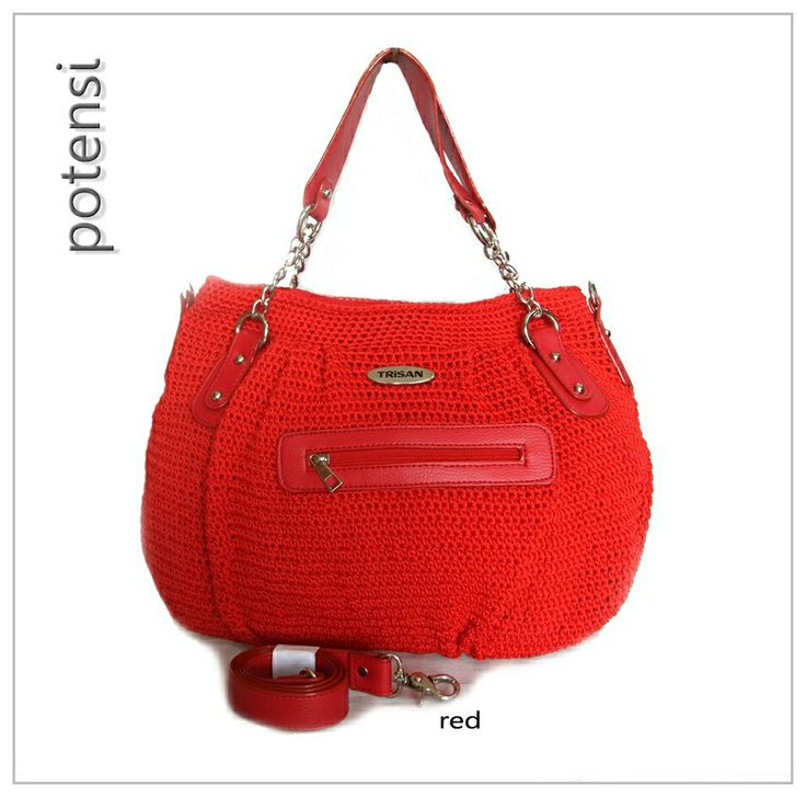 POTENSI crochet bag by TRisAN color : red materials : nylon crochet mix syntetic leather size (cm) : 40 x 28 x 10 price (IDR) : 315.000