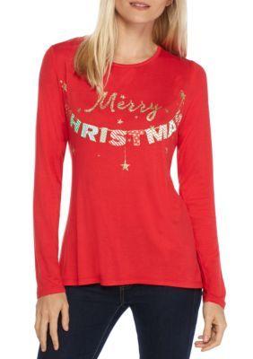 Kim Rogers Women's Petite Size Merry Xmas Tee - Merry Christmas - Pxl
