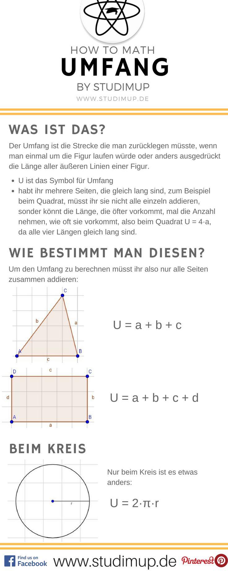 Mathe Spickzettel zum Umfang. Einfache Erklärungen auf Studimup!