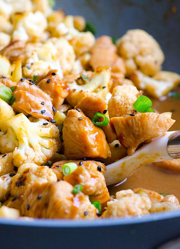 Teriyaki Chicken and Cauliflower Skillet is 100% healthy - no prefab bottled teriyaki sauce here. To FMD-ify, swap tamari for the soy sauce, arrowroot for the cornstarch, and about 15 drops stevia for the honey.