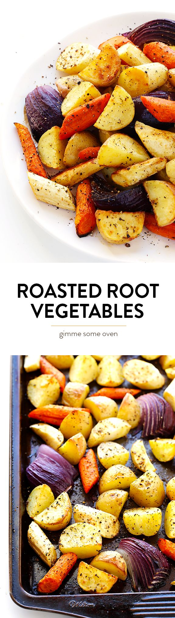 This delicious Roasted Root Vegetables recipe is easy to make, and made extra-delicious with one secret ingredient | gimmesomeoven.com