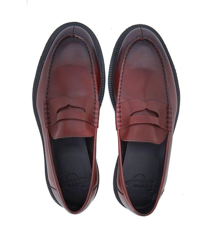 DR. MARTENS LOAFER MODEL PENTON IN RED BORDEAUX LEATHER. #dr.martens #shoes #