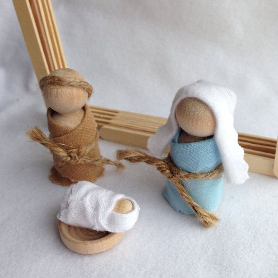 Wooden Peg Doll Kid Friendly Nativity by MindfullyLiving on Etsy