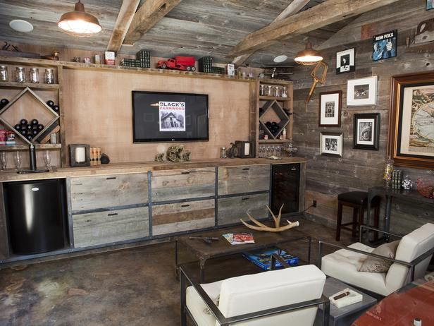 Rustic Basement Bar