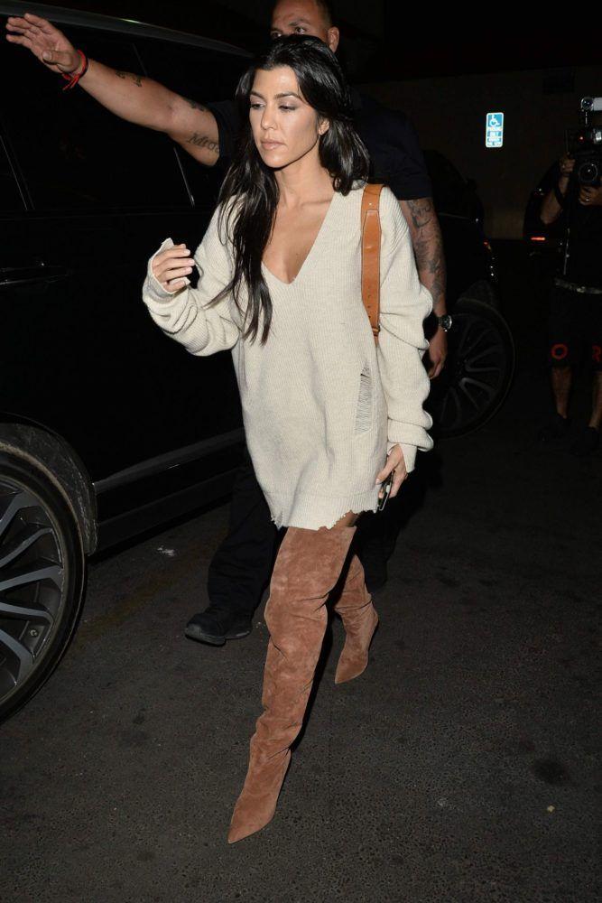 52863064406 Daily Fashion · Splurge  Kourtney Kardashian s Kim Kardashian LA Birthday  Dinner  415 Helmut Lang Crema V Neck Distressed