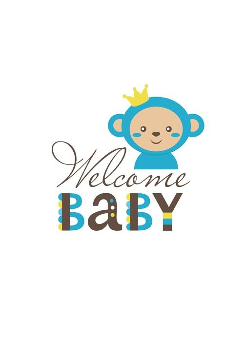 Baby shower card with monkey vector 06 download
