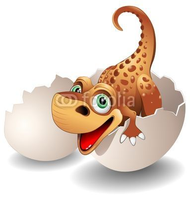 #Cute #Baby #Dinosaur coming out from his #Egg-#Vector © #Bluedarkat - on #Fotolia!