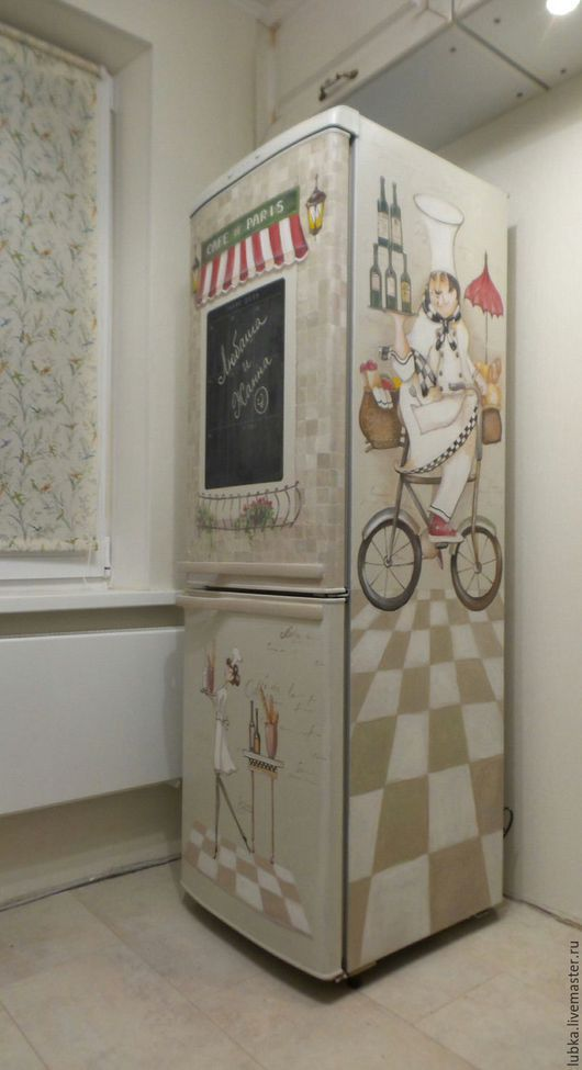Декор поверхностей ручной работы. Ярмарка Мастеров - ручная работа. Купить Роспись холодильника Французский повар:). Handmade. Комбинированный