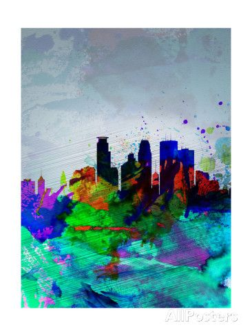 Minneapolis Watercolor Skyline Prints by NaxArt at AllPosters.com