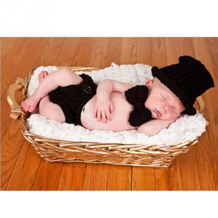 2016 Newborn Boys Crochet Knit Sir Black dress Costume Photo Photography Prop Outfits gentleman suits pattern