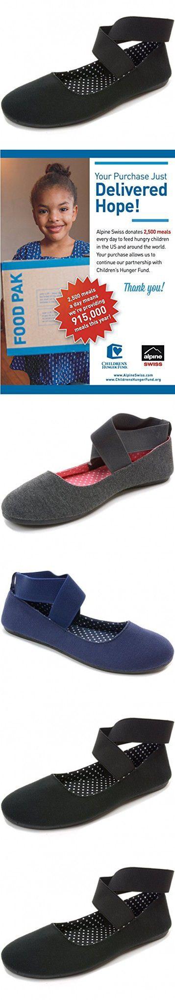 Alpine Swiss Peony Womens Ballet Flats Elastic Ankle Strap Shoes Black 11 M US