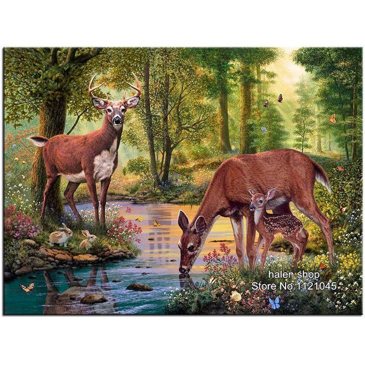 [Visit to Buy] Square Diy Diamond Painting Cross Stitch deer drink water Diamond Embroidery Craft 5D Diamond Mosaic Room Decoration Gift VS007 #Advertisement