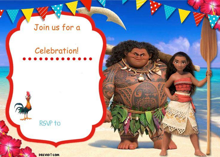 Free Moana Birthday Invitation Template | Drevio Invitations Design