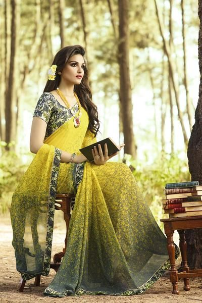 Shop Online for Vivel's Women's Yellow colour Georgette Printed Saree for women are available in India at ladyindia.com