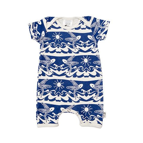 Short Romper - Flying Fish Printed super soft and stretchy 100% Organic Cotton baby romper 'Onesie' with contrast binding. Envelope neck allows for easy dressing, with press-stud closure inside legs for easy changing. Perfect for sleep and play.  Our lino-cut flying fish are flying out of the waves. Printed true navy on natural.