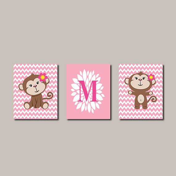 Pink Girl Monkey Set of 3 8x10 Prints Chevron by LovelyFaceDesigns, $32.00