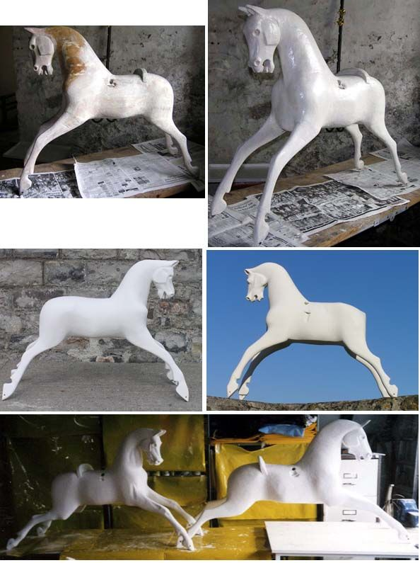 Instructions on how to make and apply gesso can be found in Anthony Dew's excellent books. There is a link to his shop, The Rocking Horse Shop, on my Links page.    The top picture shows a horse having its first gesso coat and the next photo is after about 5 coats; the gesso is still wet and shiny. In the other pictures, all the gesso has been applied and allowed to dry thoroughly. The horses are ready for sanding and crack filling.