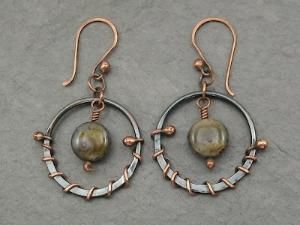 wire wrapped copper circle earrings with beads by emma-q