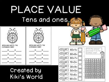 Place value worksheets (tens and ones)*****************************************************************************This product consists of 25 worksheets to practice place value (tens and ones). Numbers between 11 and 99 are practiced.Students will practice completing ten frames, coloring base ten blocks, writing the expanded form etc.