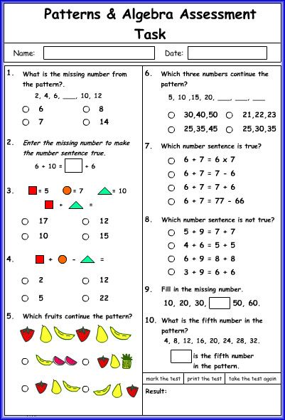 patterns in data worksheet grade 6 pdf