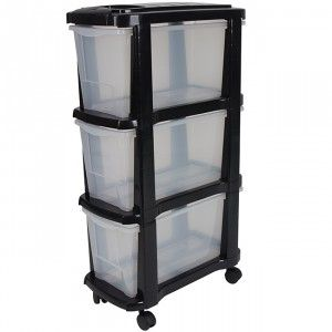 Tour de rangement plastique étroite 3 tiroirs noir - Dressing / Buanderie - Entretien / Rangement   GiFi