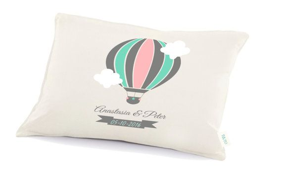 Hotair baloon wedding pillow 2nd anniversary  by Tulito on Etsy