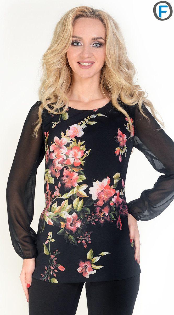Женственная комбинированная блуза с выразительным цветочным принтом – изящное дополнение к повседневному и праздничному образу. Удлиненная блуза прямого силуэта с нагрудными вытачками и вытачками спинки выгодно преподносит фигуру. Круглая горловина с декоративной складкой привлекает внимание к линиям шеи. Длинные втачные шифоновые рукава, собранные на резинку, добавят нежности и легкости в образ. Модель без застежки. Ткань – креп-шифон. Состав: 77% полиэстер, 18% ви...