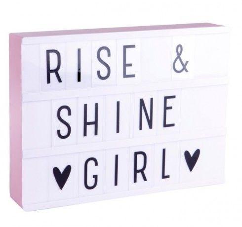Little Lovely Company Svítící box s nápisy A4 - růžový