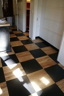 Plywood Flooring ~ when the budget won't allow new carpet now.