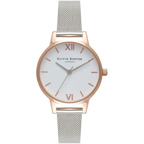 Olivia Burton OB16MDW02 Women's White Dial Mesh Bracelet Strap Watch (€105) ❤ liked on Polyvore featuring jewelry, watches, dial watches, white faced watches, sports jewelry, stainless steel wrist watch and leather-strap watches