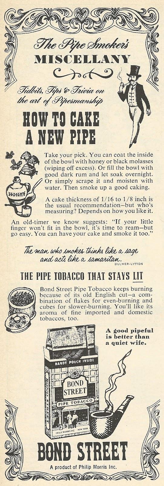 1962 Bond Street Pipe Tobacco Ad
