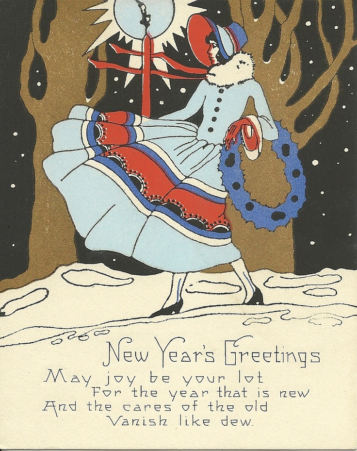 new years vintage card from 1930s i love the style depicted in this