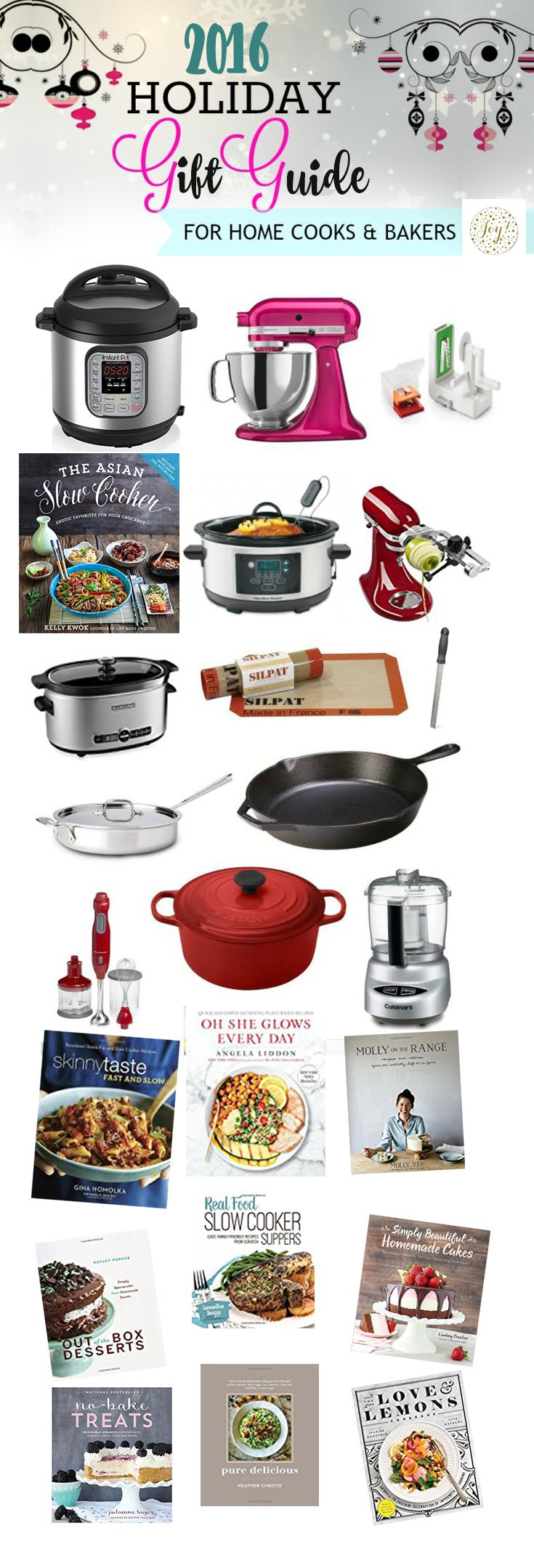 2016 Holiday Gift Guide - just perfect for the home baker and cooks. Best of all, there are new cookbooks and tons of options for big or small budgets including the Instant Pot, slow cookers, cookie scoops, graters and more!!