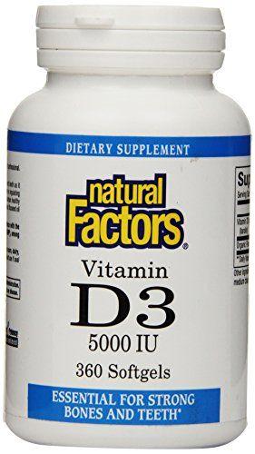 Natural Factors Vitamin D3 5000 Iu Softgels 360 Count ** Click image to review more details.