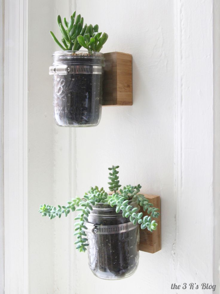 Use a mason jar and a clamp on a wood backing as a cute little planter. (Or use it as any other kind of cute see-through storage!)  http://the3rsblog.wordpress.com/2014/02/09/hanging-mason-jar-planter/
