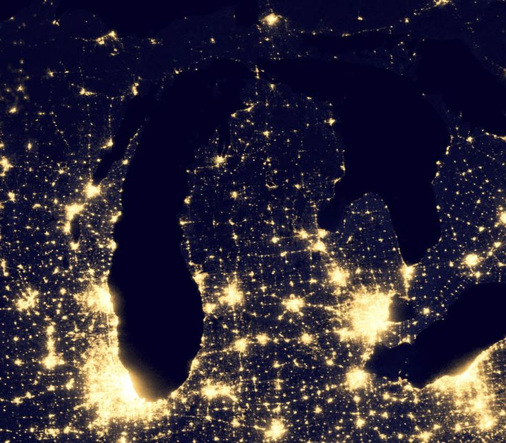 This Image Of The Michigan And Surrounds At Night Is A Portion Of - Satellite map of us at night
