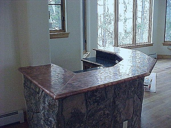 Copper top bar hand hammered copper bar top price 50 for Copper countertops cost