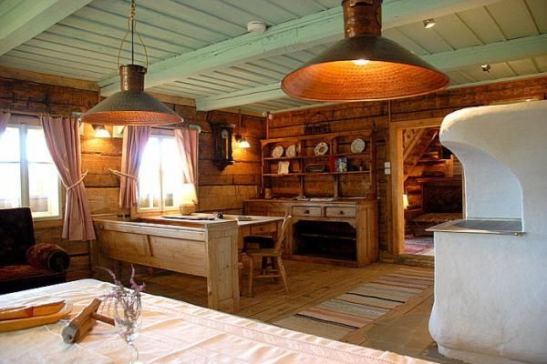 Rustic kitchen, painted wood ceiling.