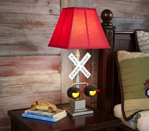 Parker Shade U0026 Railroad Crossing Table Base From Pottery Barn Kids. You Can  Choose A Red, Navy, Or Light Blue Lamp Shade.