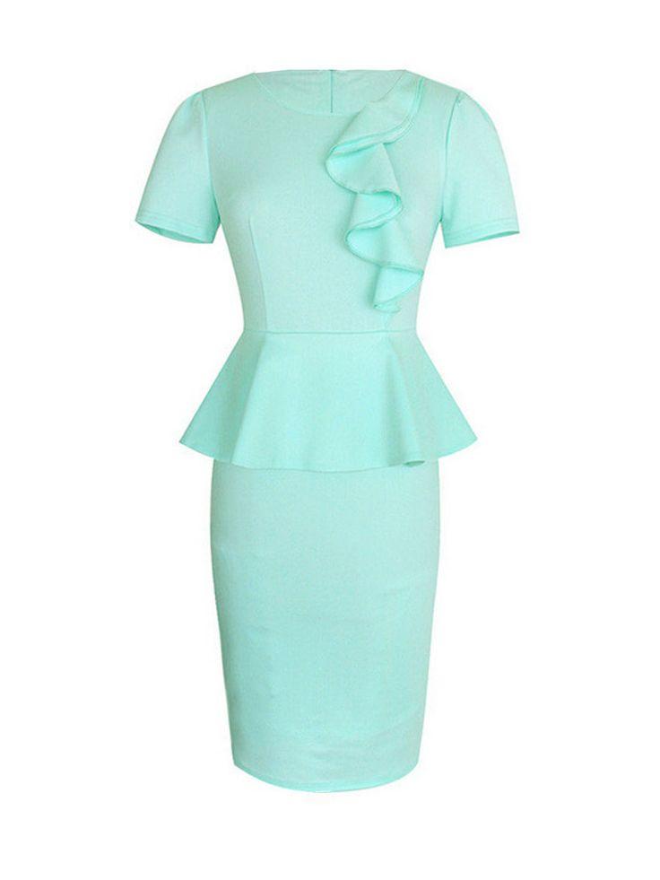 Plain Split Falbala Elegant Round Neck Bodycon-dress