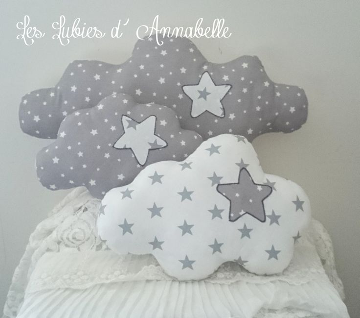Trio de coussins nuage étoilés blanc/gris : Chambre d'enfant, de bébé par leslubiesdannabelle