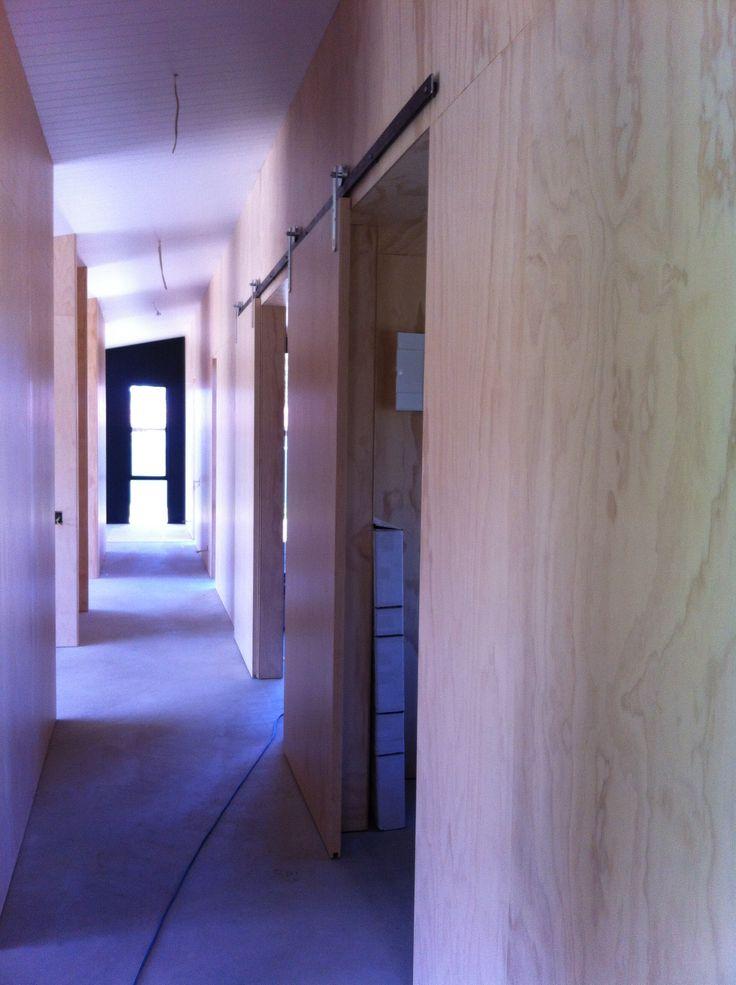 Hall - laundry and bathroom sliding doors