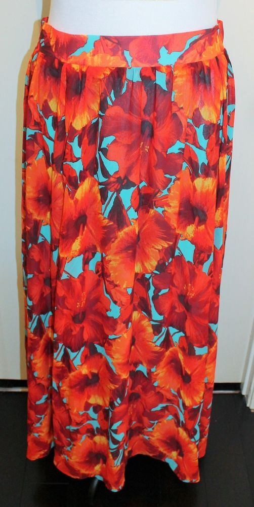 Pretty red floral maxi skirt. XL. New with tags. Free Shipping. #maxi #skirt #floral #XL #red #nwt #FreeShipping